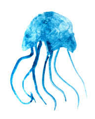 Watercolor jellyfish. Hand painted illustration.
