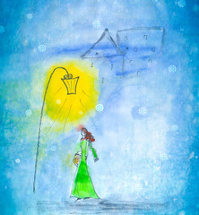 Watercolor hand painted illustration of a woman walking in winter city under street lantern on snowfall background.