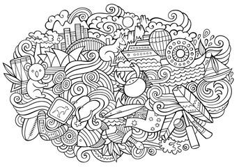 Australian doodles elements and symbols illustration