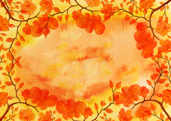 Abstract watercolor paper background with decorative floral frame.