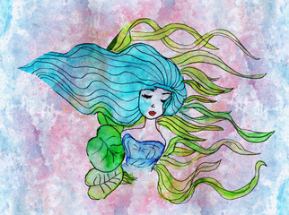 Watercolor illustration of a girl with colorful hair.
