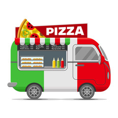 Pizza street food caravan trailer. Colorful vector illustration, cartoon style, isolated on white background