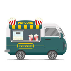 Popcorn street food caravan trailer. Colorful vector illustration, cute style, isolated on white background