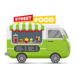 Fast street food caravan trailer. Colorful vector illustration, cute style, isolated on white background