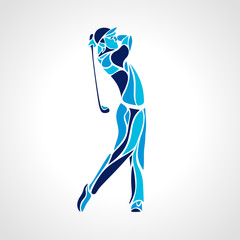 Silhouette of golf player in blue colors. Vector eps10