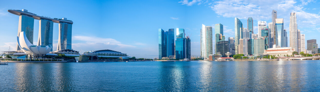 skyline of singapore at the marina bay