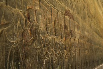 close up shot from the mural in the temple of angkor wat cambodia