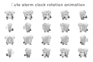Alarm clock cute child ticker kid character icons rotation animation symbols frames set isolated flat design vector illustration
