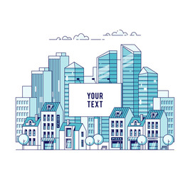 A big city billboard for placing your advertising against the backdrop of a cityscape with traditional houses and skyscrapers. Real estate and construction business concept. Vector illustration.