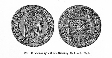 Medal dedicated to the coronation of Gustav I of Sweden (from Spamers Illustrierte  Weltgeschichte, 1894, 5[1], 316)