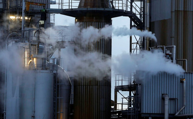 Water vapour billows from smokestacks at the Veolia plant in Bassens near Bordeaux, France