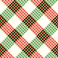Seamless background pattern. Geometric diagonal plaid pattern in patchwork style.