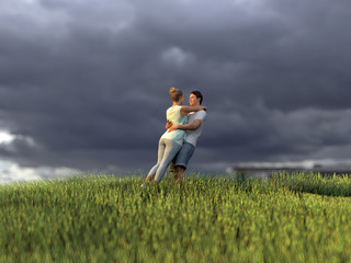 young couple on green grass field