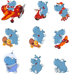 Set of  Cartoon Illustration. Cute Hippo for you Design