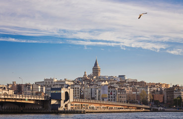 Galata Tower, Galata Bridge, Karakoy district and Golden Horn at morning