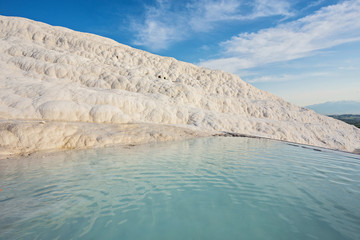 Natural travertine pools and terraces in Pamukkale.