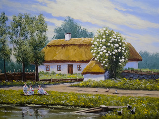 Rural oil paintings landscape. Ukrainian village, fine art. Spring