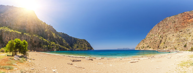 Panoramic photo of the beach of the Butterfly Valley