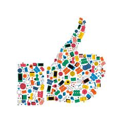 Social media like hand icon shape concept design