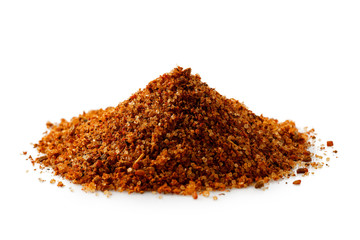 Photo sur Plexiglas Herbe, epice A pile of a red bbq spice mix ioslated on white.