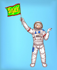 Vector young astronaut girl in a spacesuit holds a bright green flag with sale sign and points finger off to side. Pop art concept illustration on blue dotted background, for shopping flyers, ads