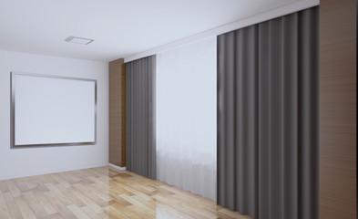 Modern Empty  office Cabinet. Meeting room. 3D rendering.. Blank paintings