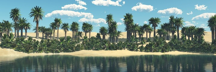 Oasis. Panorama of the desert with palm trees over the pond.