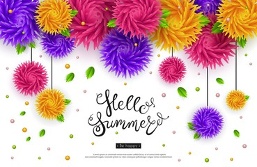 Hello summer. A beautiful banner with 3d graphics colors. Origami, paper. Vector illustration