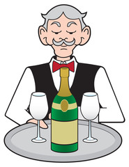 A stuffy cartoon waiter is presenting a tray carrying a bottle of champagne and two glasses