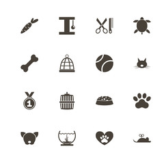 Pet icons. Perfect black pictogram on white background. Flat simple vector icon.