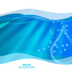 Fresh Water background of bright glowing blue blur with drops07