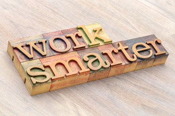 work smarter word abstract in wood type