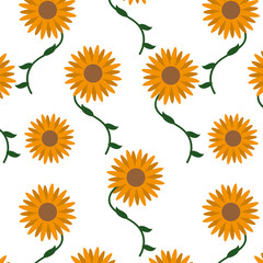 Isolated sunflower design