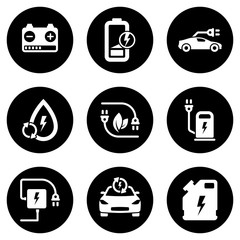 Set of white icons isolated against a black background, on a theme Electric car