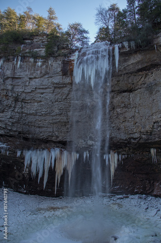frozen fall creek falls waterfall ice sculpture stock photo and