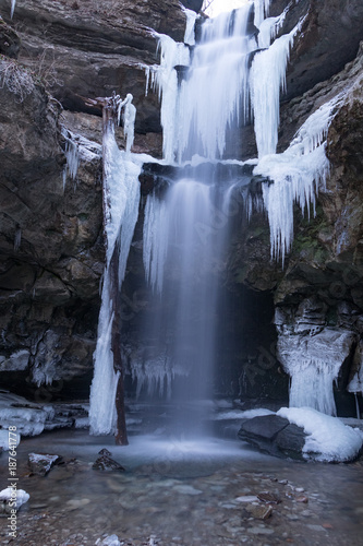 frozen lost creek waterfall ice sculpture stock photo and royalty