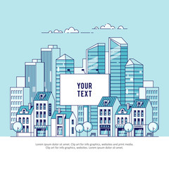A big city billboard for placing your advertising against the backdrop of a cityscape with houses and skyscrapers. Real estate and construction business concept. Vector illustration in linear style.