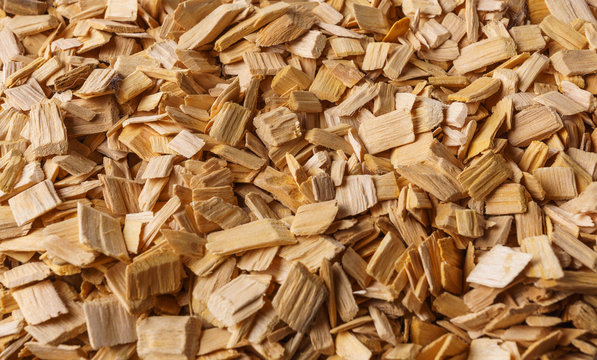 Wood chips texture, wooden background, top view.