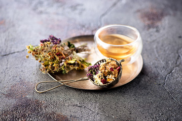 Herbal tea. Healing dried herbs, berries and flowers