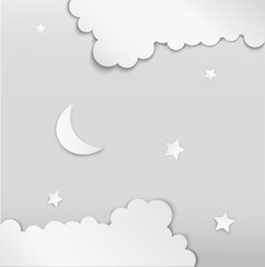 White night, paper moon and stars between the white cloud, white decoration,