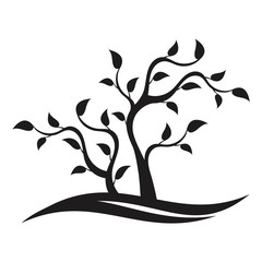 Ecology logo template. Silhouette of the abstract tree. Nature concept.