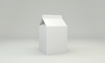 White 3d cardboard box for milk or juice.