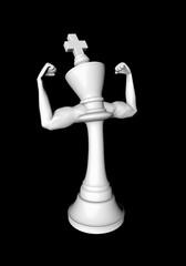 Masculine chess king white / 3D illustration of white chess king flexing biceps
