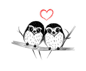 Happy Valentine's Day. Cute couple of owls on branch isolated on white. Vector illustration.