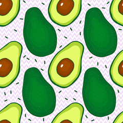 Seamless pattern with avocado hand drsw vector