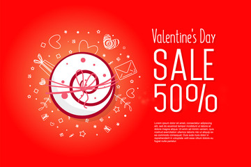 Modern flyer with happy valentine's day  text.