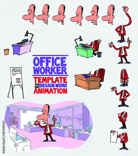 male office worker template character with decoration and elements