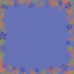 frame from flowers with blue background