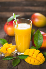Mango juice in the glass