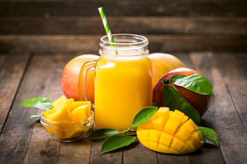 Fresh mango smoothie in the glass
